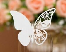 100x White butterfly name place cards wedding party table decoration centerpiece