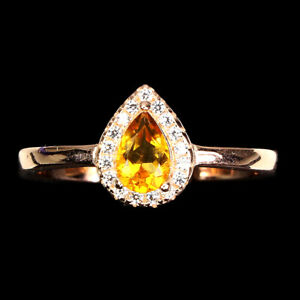 Unheated Pear Citrine 6x4mm Cz 14K Rose Gold Plate 925 Sterling Silver Ring 7.5