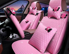 luxury PU Leather pink Car Seat Cover Seat Cushion Front/Rear Full Set accessory