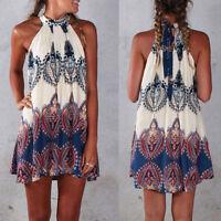 Womens Summer Beach Wear Bikini Cover Up Halter Retro Boho Print Mini Sun Dress