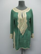CALYPSO Dark Green 3 / 4 Sleeves Embroidered Casual Blouse NWT Sz XS EE5042