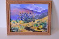 Original OOAK Acrylic on Board Signed Desert Art Joshua Tree National Park