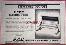 1935 G.E.C. MAGNET Electric Fires AD - Original Art Deco Print ADVERT