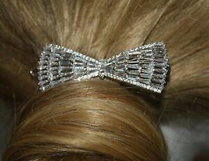 Bridal hair Clip Rhodium Plated Copper Cubic Zirconia Wedding Prom Bridesmaid