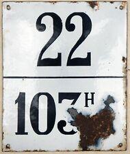 Large old black French house number 22  plaque enamel sign barrique wine barrel