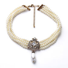 PEARL 4 ROW COLLAR VINTAGE SILVER PENDANT STATEMENT NECKLACE BOWQUET CHOKER