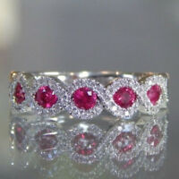 Ruby Gemstone White Gold Women Fashion Jewelry Ring Wedding Engagement Size 6-10