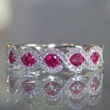 Women Fashion Ruby Gemstone White Gold Jewelry Ring Wedding Engagement Size 6-10