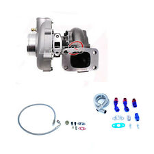 T3 Turbo Charger 63 A/R /50 Comp /5 Bolt Exhaust 400HP+ Oil Drain+Feed Line Kit