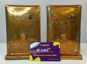 Vintage copper bookends hand made pair
