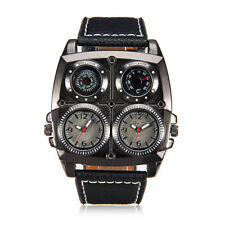 Mens Watch Large Face Dual Time Big Square Dial Leather Band Reloj de Hombres