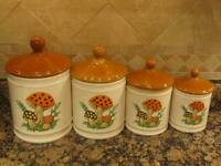 Vintage Sears Roebuck and Co. Merry Mushroom Canister Set (4)