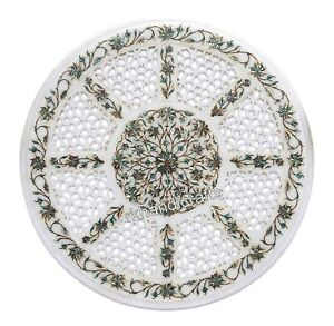 14 Inches Marble Coffee Table Top with Filigree Work Bed Side Table Home Assents