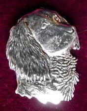 Pewter Springer Spaniel Hunting Dog Head Brooch Quality