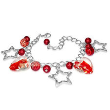Red Clear Pearl Heart Glass Bead Star Charm Bracelet nickel free jewellery UK