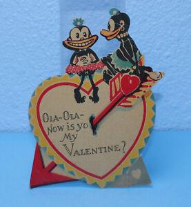 """1940s BLACK AMERICANA """"OLA-OLA-NOW IS YO MY VALENTINE!"""" VALENTINE'S DAY CARD"""