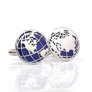 1 Pair Silver Globe World Map Cufflinks Shirt Buttons Cuff Links Alloy Jewelry