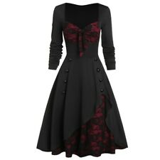 Women's Plus Size Gothic Party Dress Flower Lace Patchwork Bowknot Vintage Dress