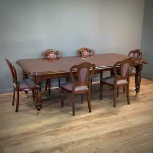 Attractive Large Mahogany Antique Style Wind Out Dining Table & Six Chairs