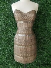 Scala Brown Taupe Jeweled Sequin Embellished Shift Midi Dress 2 XS Wedding Party