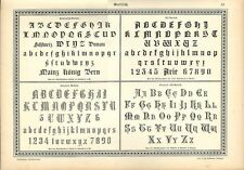 Stampa antica ALFABETI e NUMERI Stile Gotico 1898 Old Print Alphabet Writing