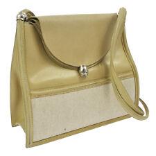 Authentic HERMES Shoulder Bag Toile H Box Calf Beige Vintage SHW V12948