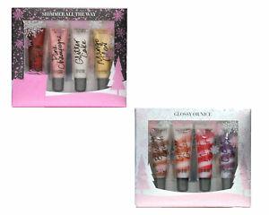 Victoria's Secret Gift Set Lip Gloss 4 Piece Shimmer Flavored Glitter New Vs