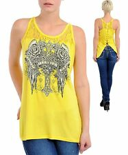 M35 -Medium- Yellow,Cross,Wings & Roses Tattoo Print,Rhinestones Stretch Top