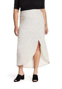 NEW Susina Designer Ivory Egret Stripe Slit Maxi Skirt 26/28 4x $89