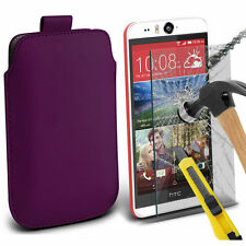 Dark Purple PU Leather Pull Tab Case Pouch & Glass for Htc Desire Eye
