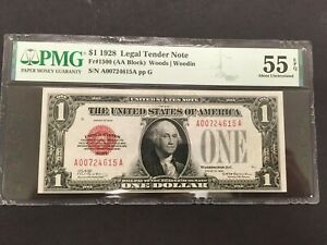 USA  1 Dollar 1928 US Note / Legal Tender Note Red Seal --- PMG graded AU 55 EPQ