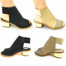 CLEARANCE:GIRLS AND LADIES LOW HEEL METALLIC CUT OUT  SUMMER SANDAL ANKLE BOOTS