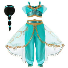 Jasmine Costume Set Girl Dress Arabian Princess Sequins Cosplay Outfit Kids Wear