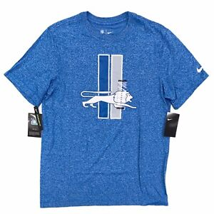 Nike Men's Detroit Lions Retro Logo T-Shirt Size Medium Blue Tee Short Sleeve