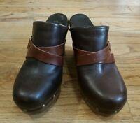 Ugg Brown Dark Brown Leather Mules Women's Shoes Wedge Heels SZ 10