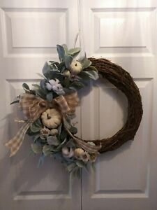 Fall Farmhouse Wreath with greenery,pumpkins,flowers,grapevine with neutral bow