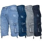 Enzo Jeans Mens Shorts Raw Combat Cargo Pockets Casual Knee Length Denim Pants