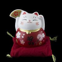 Lucky Cat Figura Gato Japonés Rojo Maneki Neko 79MM Cerámica 40694