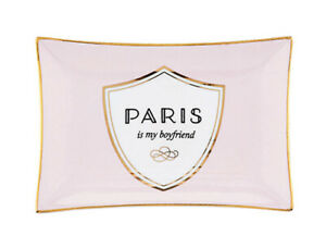 Paris Is My Boyfriend Pink Ceramic Trinket Jewelry Ring Accessory Glasses Tray