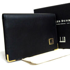 Authentic Alfred Dunhill Business Name Card Case Black Leather Made Spain in Box