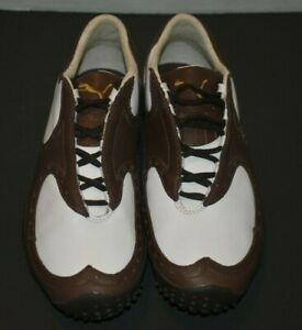 Puma Golf Shoe White and Brown leather Size 6.5