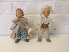 Vintage Pair of Polish Wooded Dolls Boy & Girl Marked Poland on Foot