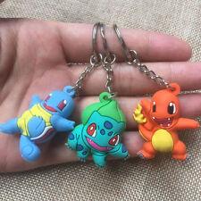 3 pcs Pokemon Keyring Bulbasaur/Charmander/Squirtle Key Ring Chain Pendant gifts