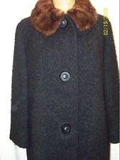 Vintage 1950's Black Textured Wool Mink Collar Coat Hockanum Fabric Serena M