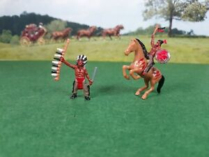 1/64 Scale S Diorama use Figures Indian Chief And Warrior Erlt Horse
