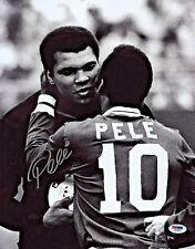 Pele Signed 11x14 Soccer Photo Hugging Muhammed Ali - Autographed PSA/DNA COA