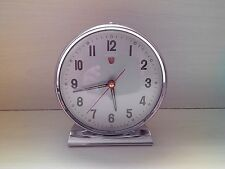 """Vintage 60´s DIAMOND Chroome Metal Wind-UP Alarm Clock Wecker - """"Made in China"""