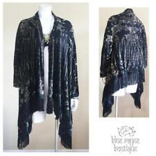 Viscose Black White Tie Dye Fringed Hem Hippie Bohemian Cardigan Jacket One Size