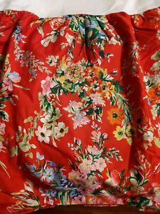 RALPH LAUREN Belle Harbor Red Floral Full Bed Skirt NIP Rare