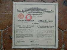 Action Obligation Banco Hipotecario de Crédito Territorial MEXICANO 1933